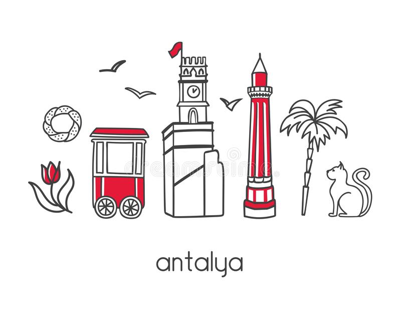 Moderne vectorillustratie Antalya, Turkije met overzichtselementen van beroemde Turkse aantrekkelijkheden stock illustratie