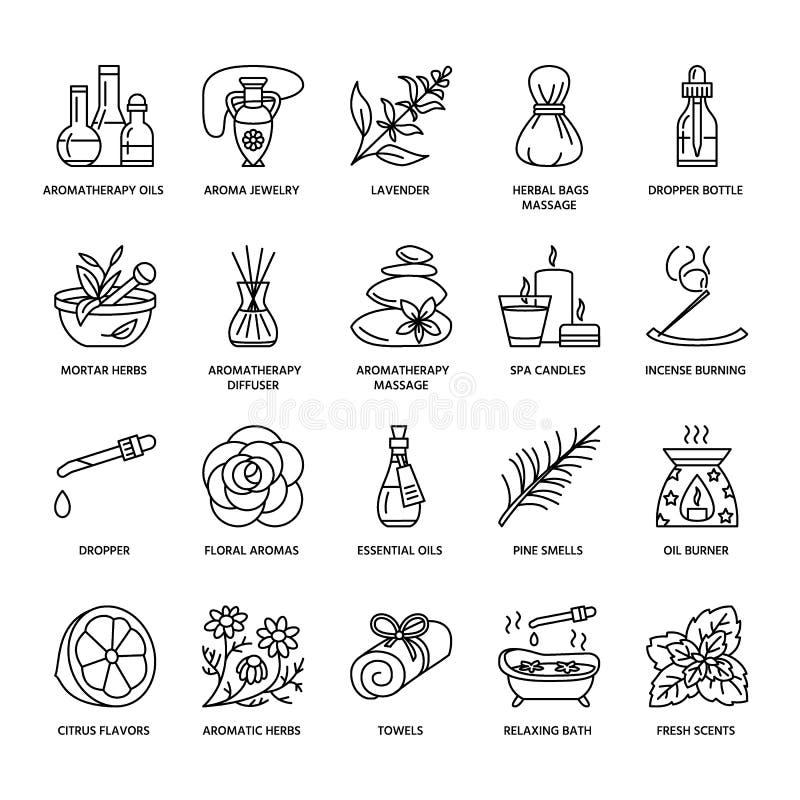 Moderne vectorlijnpictogrammen van aromatherapy en etherische oliën stock illustratie