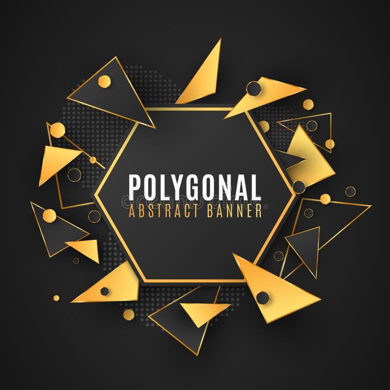 Moderne veelhoekige banner van geometrische vormen Lage polystijl Willekeurige driehoekige vormen zwarte en gouden Driehoeken Cir vector illustratie