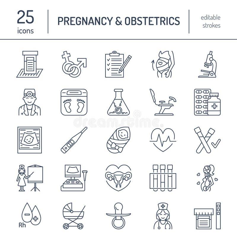 Moderne Vektorlinie Ikone des Schwangerschaftsmanagements stock abbildung