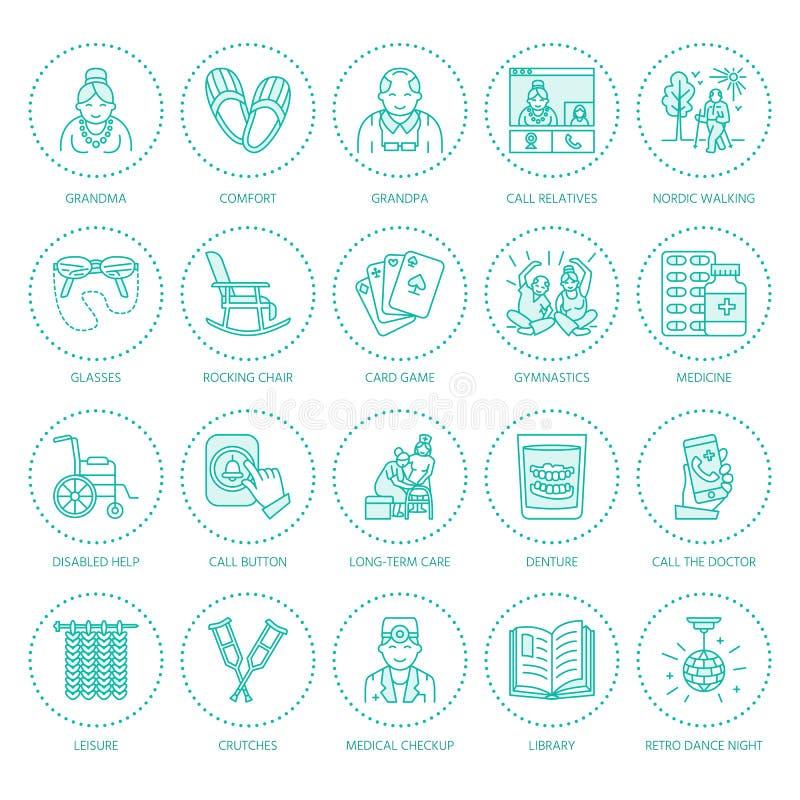 Moderne Vektorlinie Ikone des Seniors und der Altenpflege Pflegeheimelemente - alte Leute, Rollstuhl, Freizeit, Krankenhaus lizenzfreie abbildung
