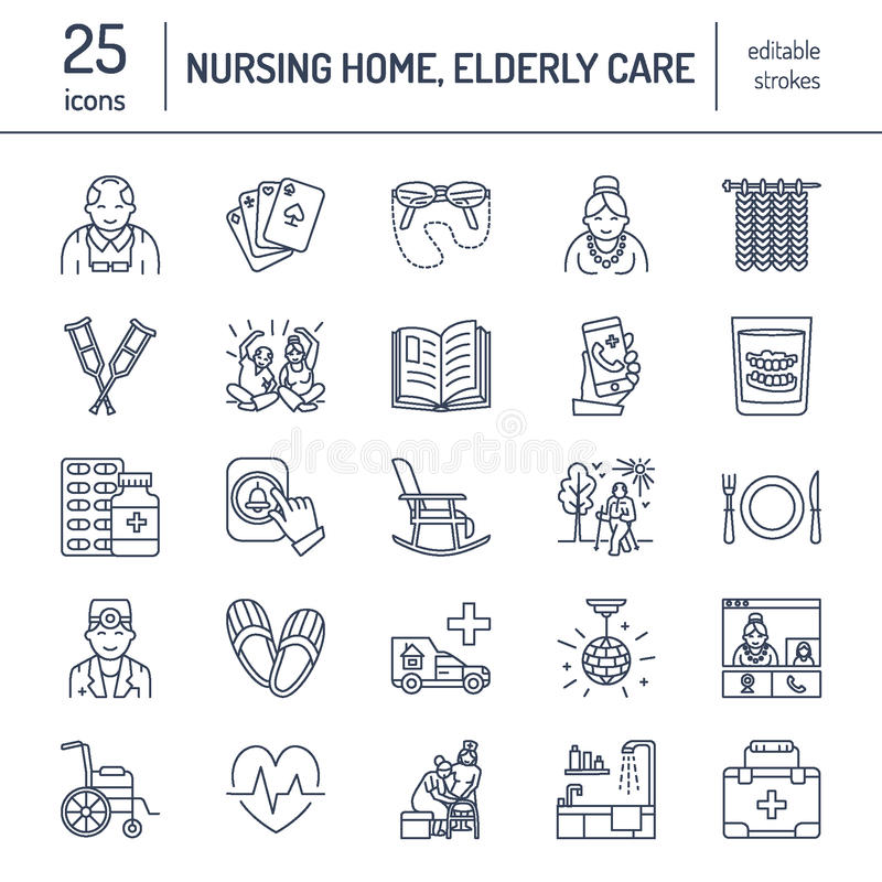 Moderne Vektorlinie Ikone des Seniors und der Altenpflege Pflegeheimelemente - alte Leute, Rollstuhl, Freizeit, Krankenhaus stock abbildung
