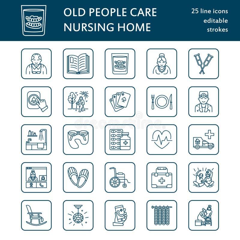 Moderne Vektorlinie Ikone des Seniors und der Altenpflege Pflegeheimelemente - alte Leute, Rollstuhl, Tätigkeiten, Gebisse, Mediz vektor abbildung