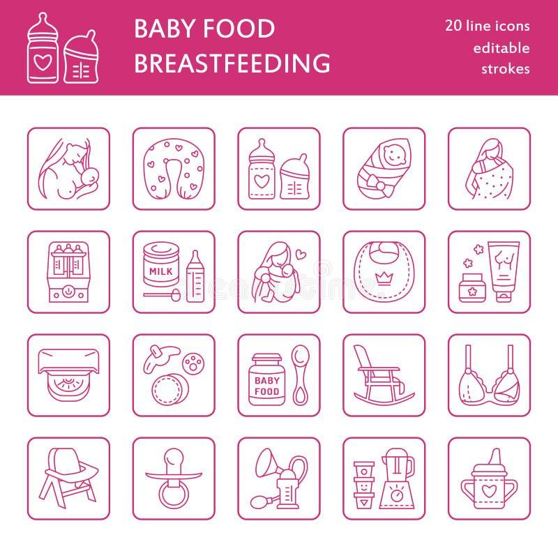 Moderne Vektorlinie Ikone des Stillens, Babysäuglingsnahrung Kindertagesstättenelemente - Brustpumpe, Frau, Kind, Milchpulver, Fl stock abbildung