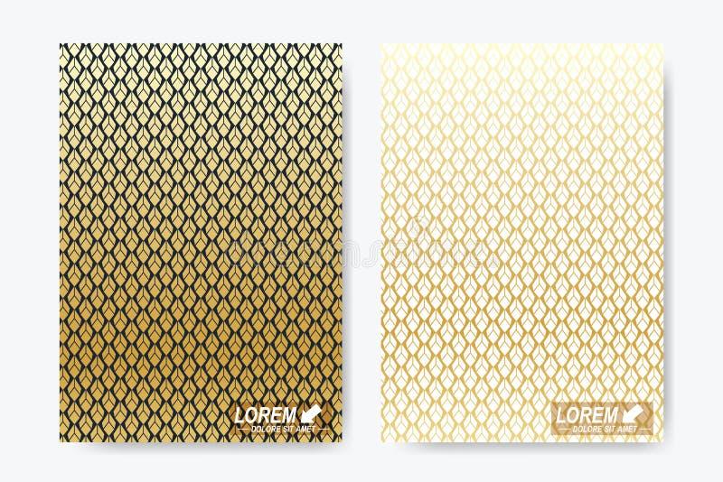 Moderne Vektorschablone für Broschüre, Broschüre, Flieger, Abdeckung, Zeitschrift oder Jahresbericht Größe A4 Luxusgoldlösungen lizenzfreie abbildung