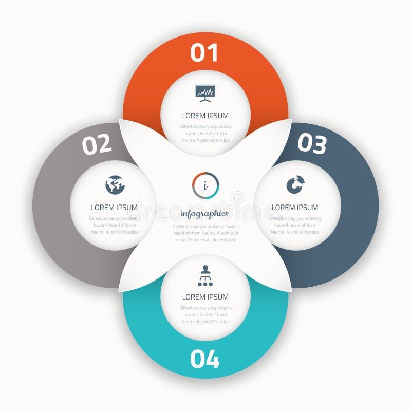 Moderne vier infographic Terminsgeschäft-Schablonenikonen stock abbildung