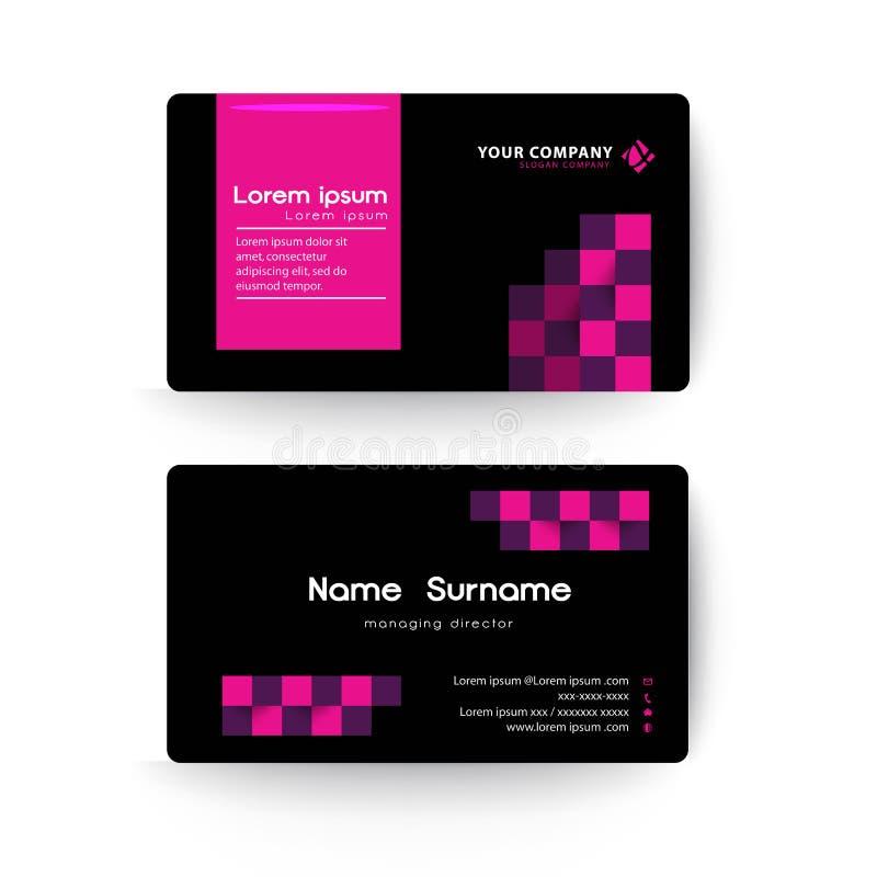 Moderne Visitenkarteschablonen-, Schwarze und rosafarbe stock abbildung
