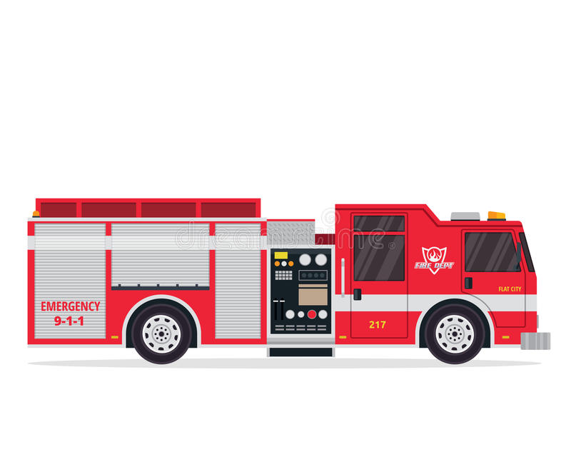 Moderne vlak Geïsoleerde Brandbestrijder Truck Illustration stock illustratie