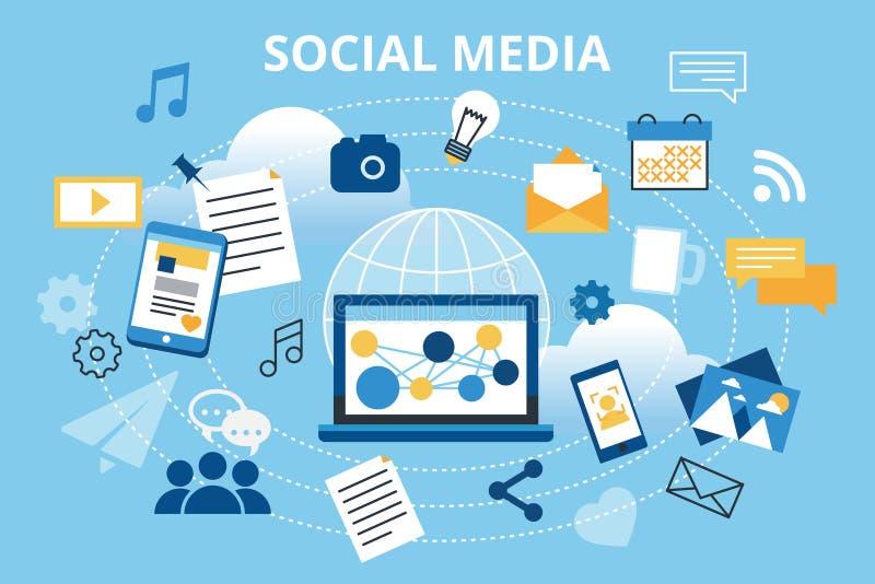 Moderne vlakke ontwerp vectorillustratie, concept sociale media, sociaal voorzien van een netwerk, Webcommuntity en het posten ni royalty-vrije illustratie