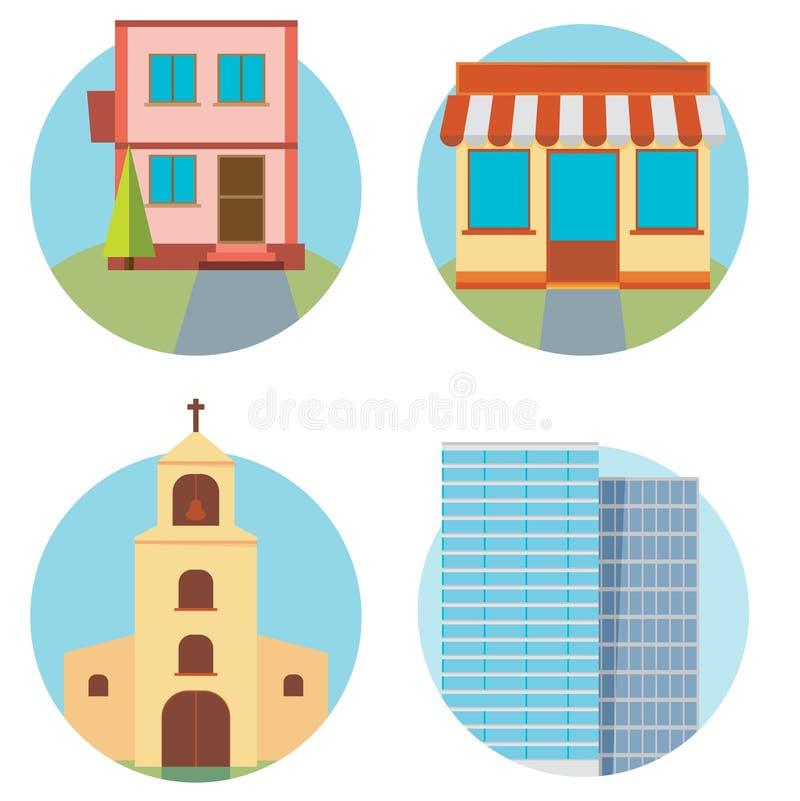 Moderne vlakke vector geplaatste gebouwen Kleurrijk malplaatje voor u desi stock illustratie
