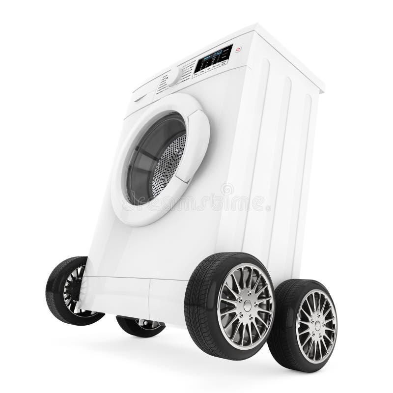Moderne Waschmaschine moderne waschmaschine auf rädern wiedergabe 3d stock abbildung
