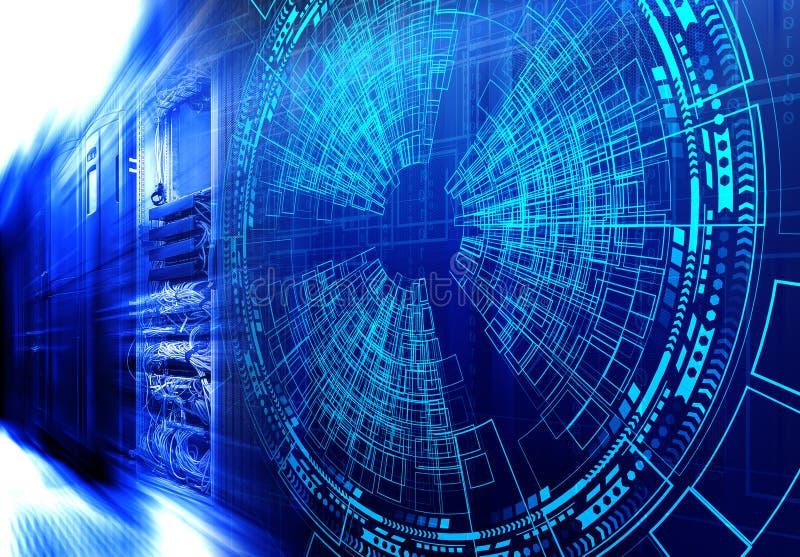 Moderne Webnetwerk en Internet-telecommunicatietechnologie, grote de wolk van de gegevensopslag de dienstzaken van de gegevensver royalty-vrije illustratie