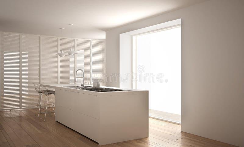 Moderne weiße Küche mit Insel und großem Fenster, Innenarchitektur der unbedeutenden Architektur lizenzfreie stockfotografie