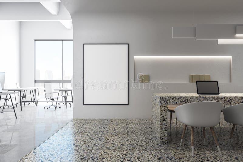 Moderne weiße Küche mit Plakat stock abbildung