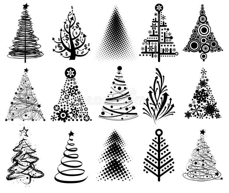 Moderne Weihnachtsbäume lizenzfreie abbildung