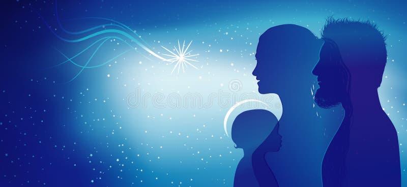 Moderne Weihnachtskrippe Blaue Schattenbildprofile mit Joseph - Mary und Baby Jesus Mehrfachbelichtung vektor abbildung