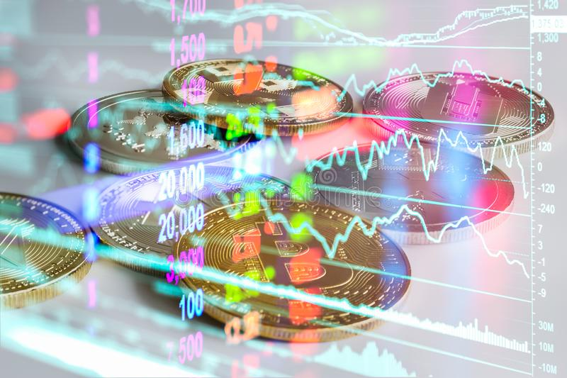 Moderne Weise des Austausches Bitcoin ist bequeme Zahlung im Markt der globalen Wirtschaft Virtuelle digitale Währung und Finanzi lizenzfreie stockfotografie