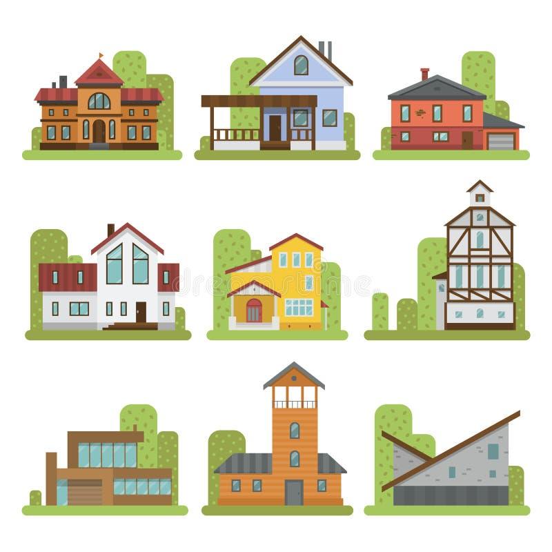 Moderne Welt der historischen Stadt besuchte höchst berühmte unterscheidende Wohnungsbaufrontgesichtsfassaden-Vektorillustration lizenzfreie abbildung