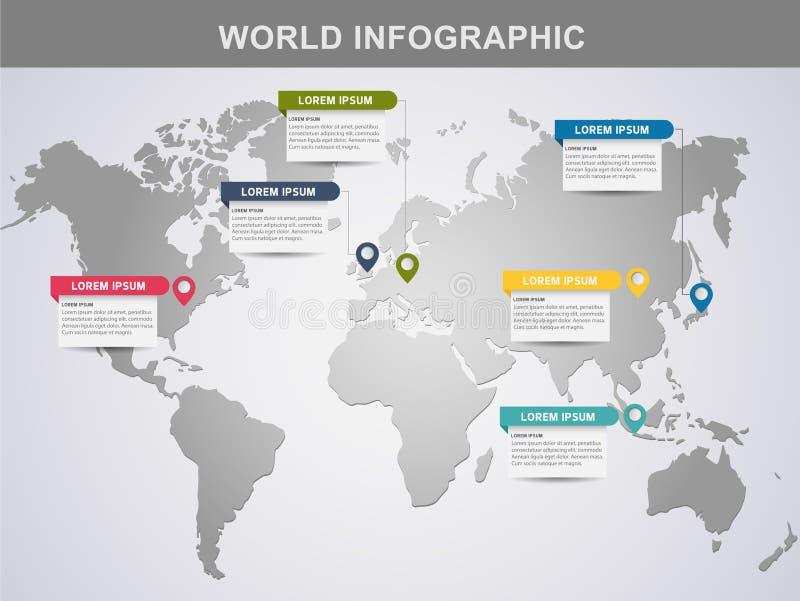 moderne Weltinformationsgrafikdesign-Elementfahne vektor abbildung