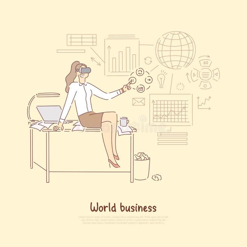 Moderne wereldbedrijfseconomie, manager die in virtuele werkelijkheidshoofdtelefoon statistisch verslag op economisch voorbereide stock illustratie