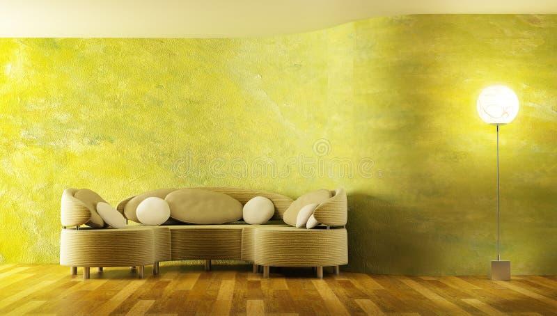 Moderne Wiedergabe des Sofas 3D stock abbildung