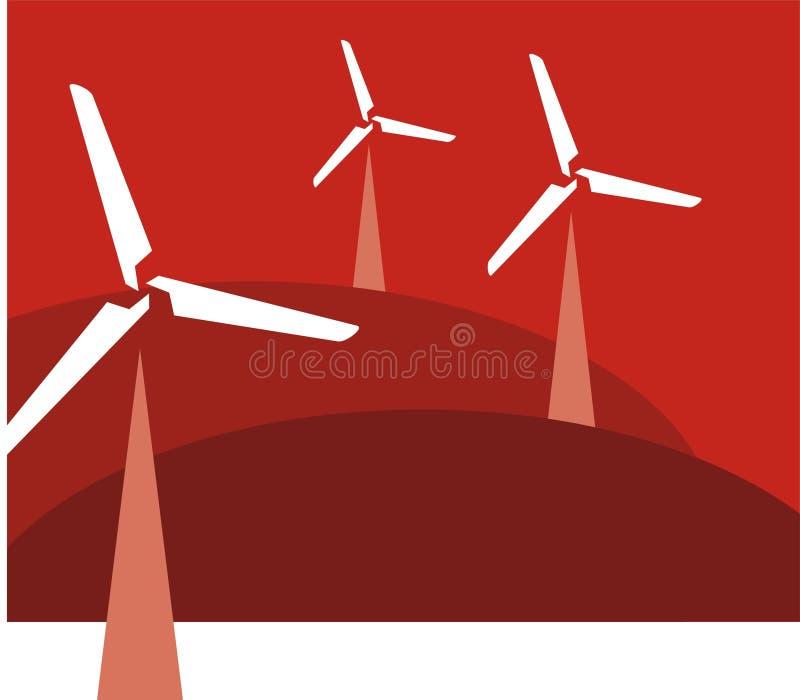 Moderne windmolens royalty-vrije illustratie