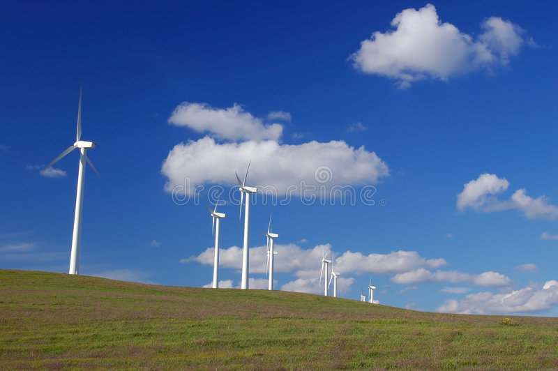 Moderne Windmolens stock fotografie