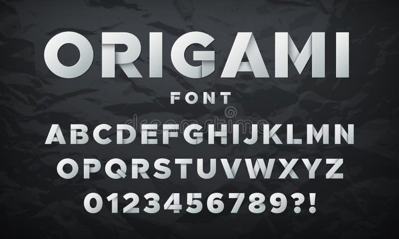 Moderne Witboekdoopvont Origami gevouwen letters en getallen Vector alfabet vector illustratie