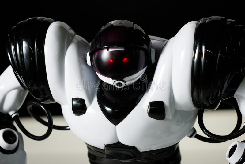 Moderne witte futuristische omhoog geschoten dicht van de humanoidrobot royalty-vrije stock afbeeldingen