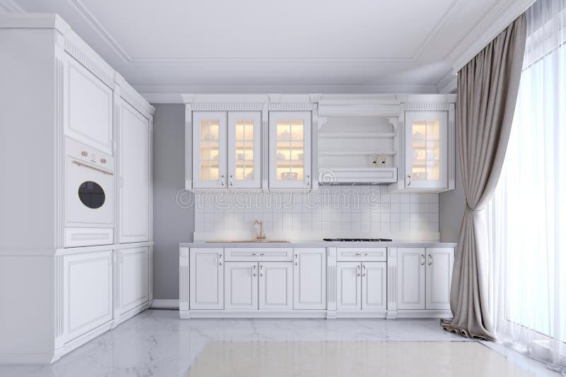 Moderne witte keuken in een klassieke stijl, binnenlands met wit meubilair en grijze muren Luxueuze keuken binnenlands ontwerp royalty-vrije illustratie