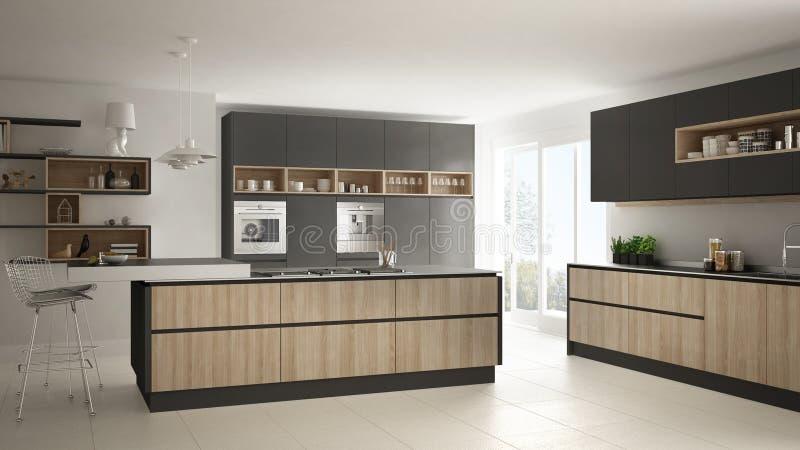 Moderne witte keuken met houten en grijze minimalistic details, royalty-vrije illustratie