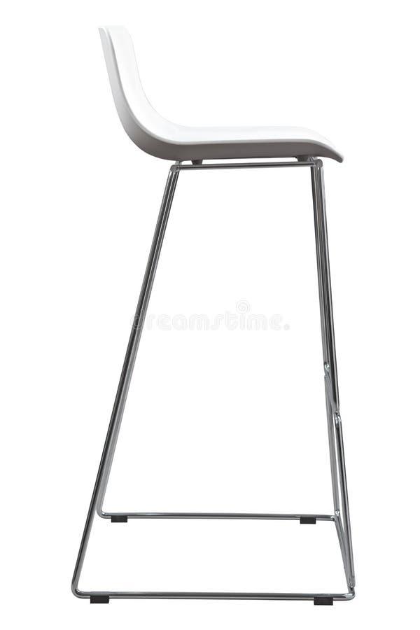 Moderne Witte Plastic Barkruk De stoel van de ontwerperbar op wit wordt geïsoleerd dat stock fotografie