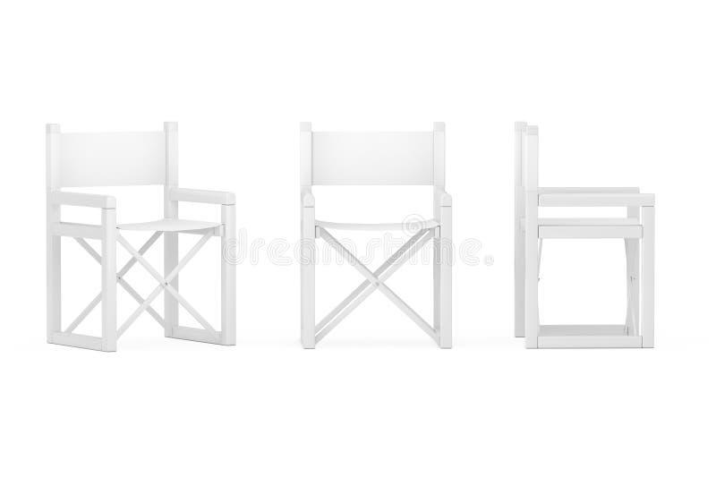 Moderne Witte Vouwende Directeur of Tuinstoel in Clay Style het 3d teruggeven stock illustratie