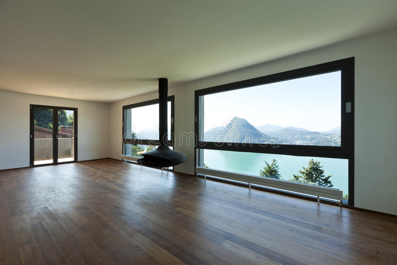 Moderne Wohnung, Großes Wohnzimmer Stockfoto - Bild von parquet ...