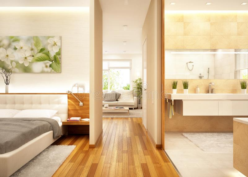 Moderne Wohnung mit Wohnzimmer, Badezimmer und Schlafzimmer lizenzfreies stockbild