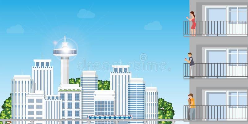 Moderne Wohnung in städtischen Stadtbild skycrapers mit stillstehendem peoplein Sonnenuntergang lizenzfreie abbildung