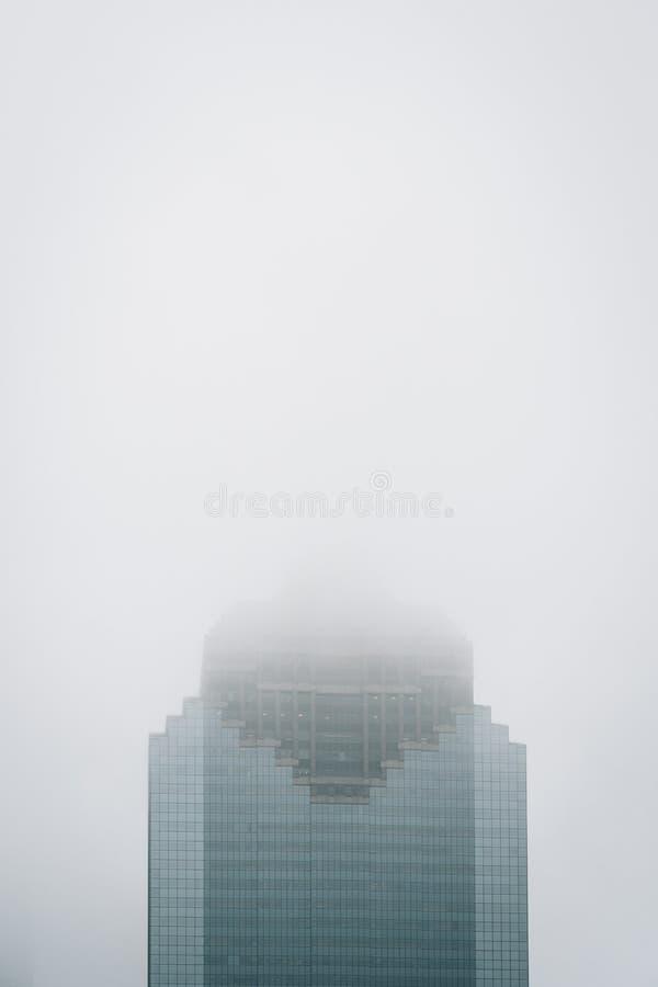 Moderne wolkenkrabber in mist, in Houston, Texas royalty-vrije stock afbeelding