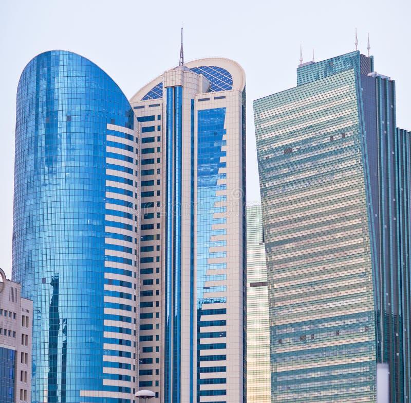 Moderne wolkenkrabbers in de Astana-stad, Kazachstan stock foto's
