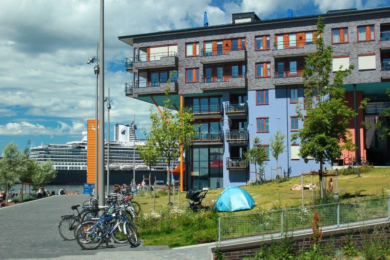 Moderne woningbouw in Sorenga in Oslo, Noorwegen royalty-vrije stock foto's