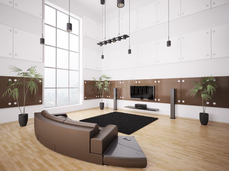 Moderne Woonkamer Binnenlandse 3d Stock Illustratie - Illustratie ...