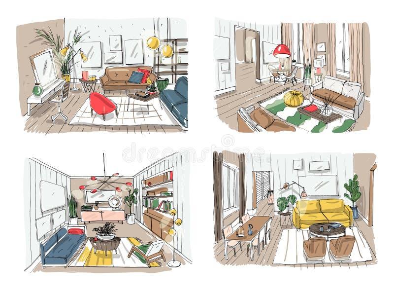 Moderne woonkamer binnenlandse reeks Geleverde woonkamerinzameling Kleurrijke vectorillustratieschets op licht vector illustratie
