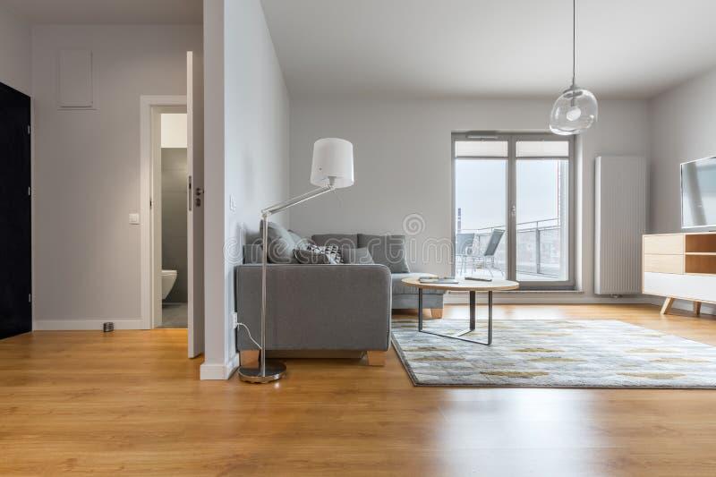 Moderne woonkamer en gang stock foto's