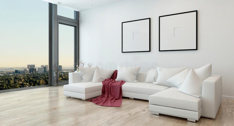 Moderne Woonkamer in Flatgebouw met koopflats met Stadsmening royalty-vrije illustratie