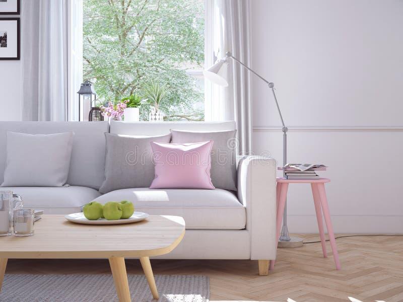 Moderne woonkamer in huis in de stad het 3d teruggeven royalty-vrije stock foto
