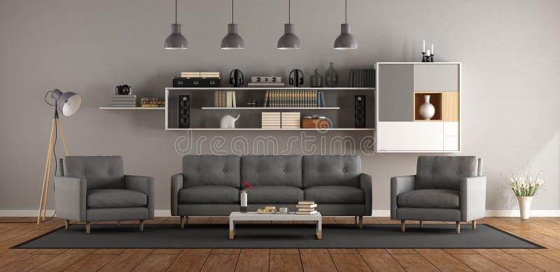Moderne woonkamer met bank, leunstoel en boekenkast - het 3d teruggeven vector illustratie