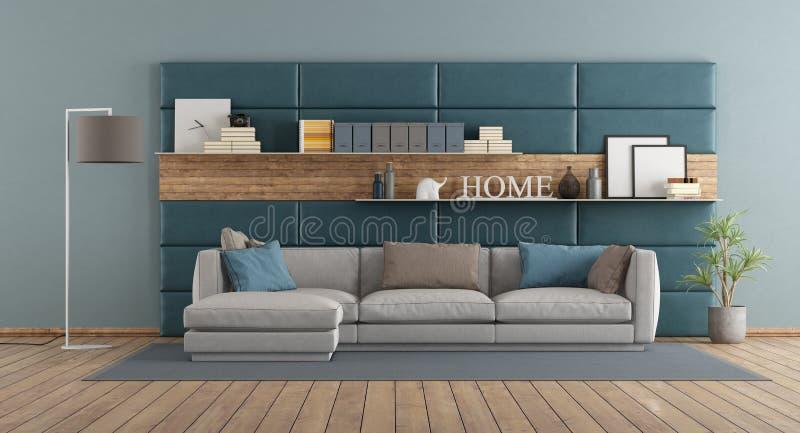 Moderne woonkamer met bank tegen het met panelen bekleden vector illustratie