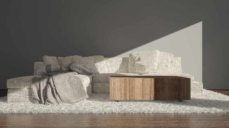 Moderne woonkamer met bankzitting royalty-vrije illustratie