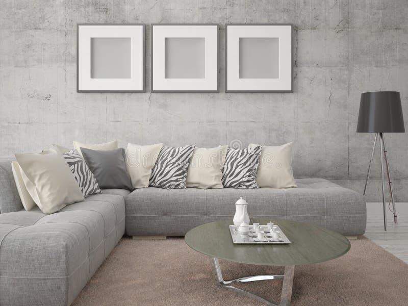 Moderne Woonkamer Met Een Comfortabele Hoekbank Stock Illustratie ...