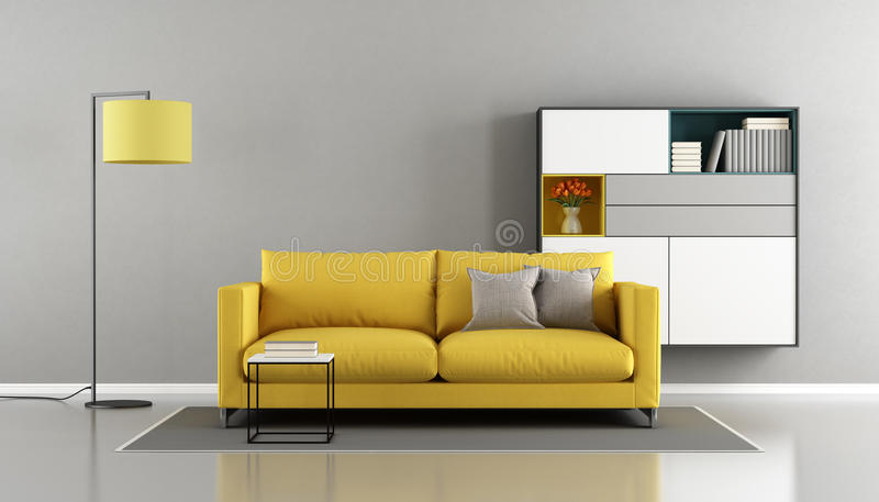 Moderne woonkamer met gele laag stock illustratie