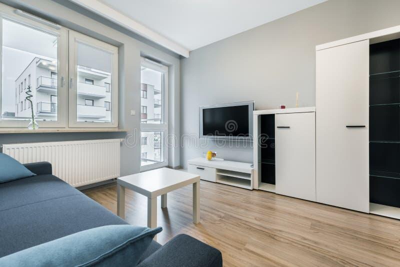 Moderne woonkamer met grijze muren royalty-vrije stock afbeeldingen